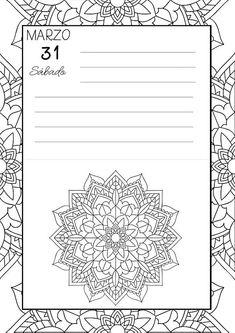 Calendario Agenda Marzo 2018 con Mandalas para colorear 2 dias por hoja Tamaño A4 16 páginas en blanco y negro Formato pdf