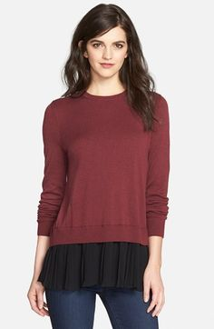 Chelsea28 Pleated Hem Sweater available at #Nordstrom...adorable.  Love the surprise back!!  Get in grey/white vapor.