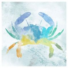 "Canvas crab print with watercolor inspiration.   Product: PrintConstruction Material: Canvas and MDFColor: MultiFeatures: Ready to hangDimensions: 12"" H x 12"" W Cleaning and Care: Wipe with a dry cloth"