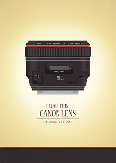 I Love this Canon Lens EF 50mm f/1.2 L USM, Poster e Skin for iPhone, purchase of society6.com