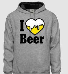 496cab3572 I love Beer - feliratos kapucnis pulóver