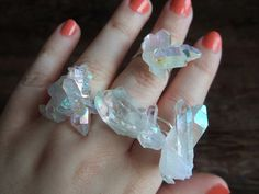 Opal Aura Cluster Ring