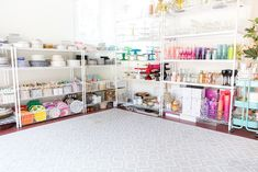 Tour the Pizzazzerie Prop Room. See where everything is stored from cake stands and plates to glassware, ribbon, and tablecloths. Storage Room Organization, Home Office Organization, Pantry Storage, Organizing Your Home, Craft Storage, Organising, Organizing Ideas, Tablecloth Rental, Tablecloths