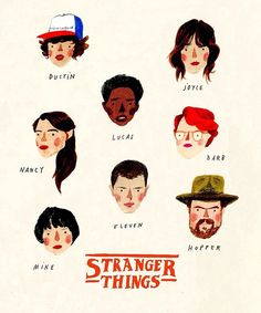 Stranger Things: I finally finished the series! Love the way the characters are illustrated in this lovely drawing by Art And Illustration, Character Illustration, Stranger Things Aesthetic, Stranger Things Funny, Ohh Deer, Guache, Sign Printing, Prints For Sale, Art Inspo
