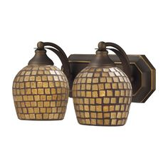 Bath And Spa 2 Light Vanity In Aged Bronze And Gold Leaf Glass
