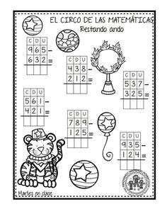 EXCELENTE CUADERNO PARA TRABAJAR UNA SEMANA EL CIRCO DE LAS MATEMÁTICAS - Imagenes Educativas Math Addition Worksheets, Math Coloring Worksheets, Free Printable Math Worksheets, 2nd Grade Math Worksheets, Worksheets For Kids, Printables, Abacus Math, Spiral Math, Math Sheets