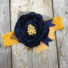 M2M Mustard Pie Mustard and Navy bow with by LittleSparrowBows #littlesparrowbows #m2mmustardpie #wvu