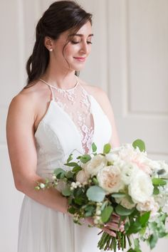 Rue de Seine wedding dress at a Connecticut Winvian Farm wedding designed by Stacie Shea Events and photographed by Jessica Haley