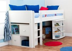 Stompa Uno Midsleeper Bed 1a inc. Desk and Cube Unit - Boys Beds - Childrens Beds - Beds