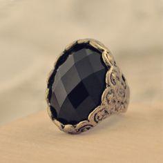 Vintage Black Carving Cocktail Ring