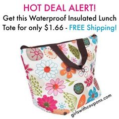 Waterproof Insulated Fashion Lunch Cooler Tote Only $1.66