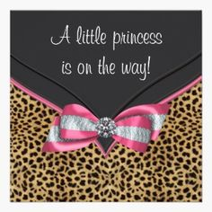 Baby Shower Personalized Invitation for a baby girl with Leopard background