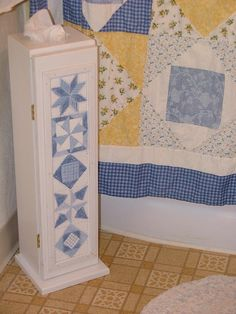 Combination tissue and toilet paper storage for the bathroom. My wife Sheryl and I both worked on this one about 11 years ago. It was the first project we did together. She did all the artwork. Toilet Paper Storage, Woodworking Projects, Decor Ideas, Blanket, Bathroom, Bed, Artwork, Home Decor, Washroom