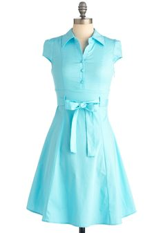 $45 Soda Fountain Dress in Ice - Rockabilly, Vintage Inspired, Blue, Solid, Buttons, Pleats, A-line, Cap Sleeves, Mid-length, 50s, Work, Casual