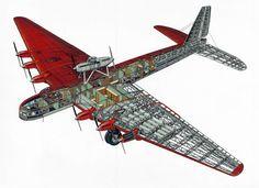 """A Tupolev ANT-20 """"Maxim Gorky"""" cutaway schematic"""