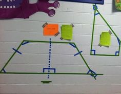 cool idea for geometry....geometry graffiti in the hallway...love this!