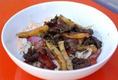 Peruvian ganger steak Lomo Saltado (red onion/tomato/parsley/soy sauce)