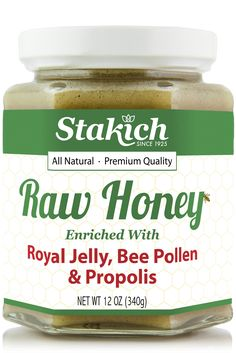 Our Stakich Raw Honey is enriched with all natural Royal Jelly, Bee Pollen and Propolis giving you the complete nutritional benefits from the beehive. The rich flavor of our raw honey masks the natura