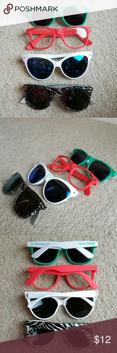 Sunglasses bundle! Three pairs of sunglasses and one pair of pink nerdy glasses Accessories Sunglasses