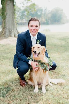 Golden Retriever wedding greenery collar, best boy, dog in wedding, wedding day photography, mans best friend, groom and dog, navy suit, outdoor wedding, maryland wedding, pet in wedding