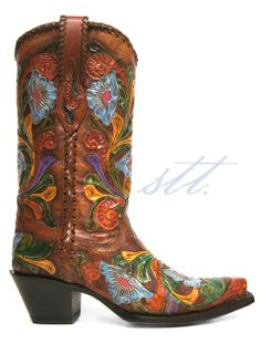 New to STT -- Corral Women's Chedron Full Poppy Cowgirl Boots | These Corral® Chedron Full Poppy women's boots are gorgeous with vibrant colored floral embossing and woven crown and piping! | SouthTexasTack.com