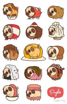 Pugs in food. Cute Animal Drawings, Kawaii Drawings, Cute Drawings, Stickers Kawaii, Cute Stickers, Animals And Pets, Funny Animals, Cute Animals, Draw Animals