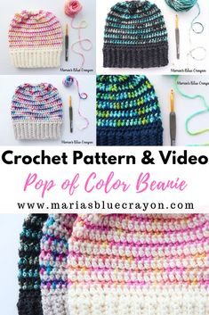 I LOVED making this hat. So much that I made 6 different ones! Using variegated yarn in small doses gives so much life to a project. Also, using scrap yarn for this project gave me life. #crochet #hat #beanie #video #variegated #scrapyarn
