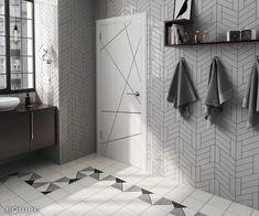 Chevron Wall Light Grey 18,6x5,2 / Caprice White, Origami B&W 20x20. #architecture, #architect, #bath, #bathroom tile, #ceramic tile, #ceramic tiles, #contemporary, #contractor, #geometric, #chevron, #geometry, #design, #house, #interior design, #interior designer, #kitchen, #kitchen tile, #modern, #tile, #traditional, #brick, #vanguard, #modern, #white body, #equipe, #equipe cerámicas, #cerámica, #indoor,