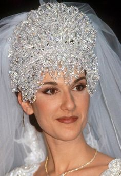 "Celine Dion's bridal headpiece (from a slideshow of ""worst wedding dresses"")"