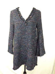 97db79d8 89.99 | Zara Woman dress size Large tweed frayed mini v neck shift blue NWT