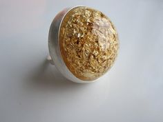 Clear Acrylic Dome ring with 23k Gold Leaf Resin by VirginiaWynne