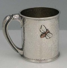 Whiting sterling silver cup. Mixed metal application & fine hand hammered handle.