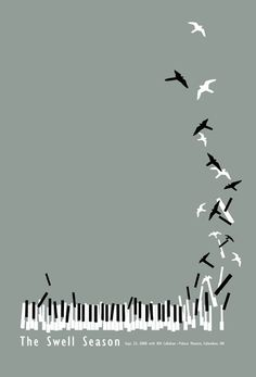Music takes flight. Minimal poster design - but so creative! Colour completely toned right down - just black, white and grey. Love it.