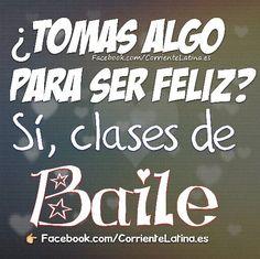 ¿ Tomas algo para ser feliz? Sí, clases de Baile  #FelizViernes #Salsa #baile... - #algo #Bailarfrases #Bailarinasdeballet #baile #clases #de #feliz #FelizViernes #Frasesdebailarines #Frasesdebaile #Frasesdedanza #Para #Salsa #ser #si #Tomas Zumba Quotes, Dance Quotes, Motivational Quotes, Shall We Dance, Just Dance, Salsa Bachata, Flamenco Dancers, Gym Quote, Salsa Dancing