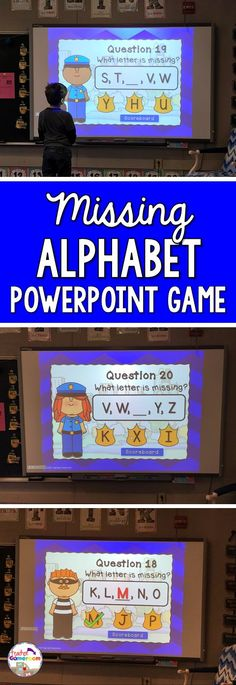 Kindergarten game where students must correctly identify the missing letter in a set of letters from the Alphabet. Common core aligned.