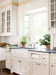 Marble Counters Light Gray Cabinets Neutral Kitchen