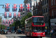 London buses amongst Union Jack flags ready for the Queen's Jubilee