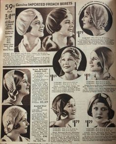 1931 beret hats and soft brimless cloches