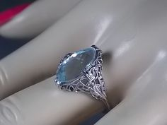 Vintage Aquamarine Filigree Ring 2.75 Carats White Gold 18K 2.5gm Size 6.75 March Birthstone on Etsy, $539.57 CAD