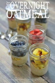 Are hectic mornings driving you insane?  These easy and delicious overnight oatmeal cups come together in minutes with just a handful of healthy ingredients.  Whip them up the night before to make breakfast a breeze and help your crazy mornings go a whole lot smoother!