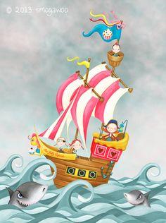 pirate ship www.smogawoo.com Children illustration