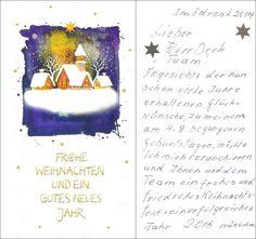 Anrührendes Dankeschön eines 90jährigen Seniors zu Weihnachten. Was man gibt, kommt zurück. Gestern war diese mich sehr anrührende Weihnachtskarte bei der Post. Es ist schön, den Menschen so viel Freude zu bereiten. :-)