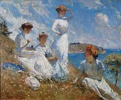 Frank Weston Benson, (1862-1951) American artist from Salem, Massachusetts known for his Realistic portraits & American Impressionist painting.  'Summer' (1909) depicts his daughters.