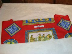 New in Pkg. Ricarda M. Red Multi Color Anthemion & Chariots Motif Women's Scarf #RicardaM #Scarf