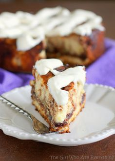 This Cinnamon Roll Cheesecake is cheesecake with cinnamon roll dough base and buttery cinnamon swirled throughout. The top is frosted with thick cream cheese frosting. http://the-girl-who-ate-everything.com
