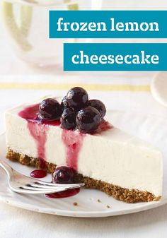 Frozen Lemon Cheesecake with Blueberry Drizzle — The perfect dessert recipe to serve at your summer party. Call it lemon's challenge to Key lime pie.