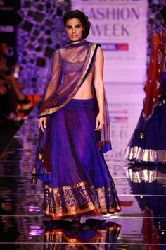 Purple Lehenga: love the 2nd tone under the net/Georgette...great inspiration for wedding lehenga