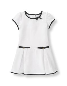 Girl White Trimmed Quilted Dress by Janie and Jack. Imported and Coastal White Frocks For Girls, Little Dresses, Little Girl Dresses, Cute Dresses, Girls Dresses, Dress Girl, Baby Dress Design, Toddler Dress, Kids Outfits