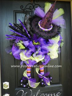 Halloween Spider Witch Wreath Purple Green and Black Diva TuTu Witch Hat & Boots XXL. $129.99, via Etsy. witch hats, craft, halloween wreath, purpl green, wreath purpl, boots, black, witch wreath, halloween spider