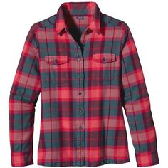 Patagonia Women's Long-Sleeved Fjord Flannel Shirt ($89) ❤ liked on Polyvore featuring tops, shirts, long sleeves, blouses, tomato, plaid shirt, purple top, flannel shirts, shirts & tops and purple flannel shirt